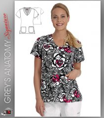 Signature by Grey's Anatomy™ Women's V-Neck Leila Print Top