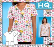 Cherokee HQ Scrub Precious Moments Geo V-Neck Top