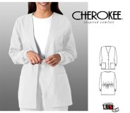 Cherokee White Button Front Warm-up