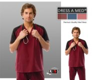 Dress A Med Solid Contrast V-Neck Scrub Top - Maroon