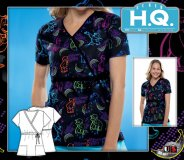 Cherokee HQ Scrub Curious Monkey Mock Wrap Top