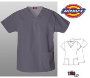 Dickies Classic Missy V-Neck Scrub Top Pewter