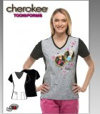 Cherokee Tooniforms Disney Forever Sisters V-Neck Knit Panel Top