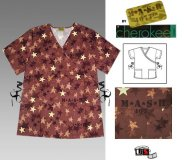 Cherokee Star Print Scrub Uniform Short Sleeve Wrap Tunic
