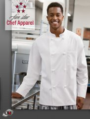 18016 Five Star Unisex Knot Button Chef Coat