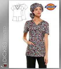 Dickies EDS Women's V-Neck Let There Be Leopard Print Scrub Top
