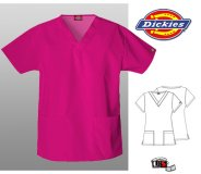 Dickies Classic Missy V-Neck Scrub Top Hot Pink