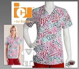 88da9f3f36b ICU Barco Uniforms Winterland Women's Detail V-Neck Print Top [71163 ...