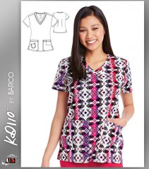 KD110 BY Barco Ombre Tribal Two Pockets V-Neck Print Scrub Top