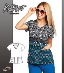 KD110 BY Barco I Heart You Two Pockets V-Neck Print Scrub Top