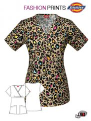 af4bd85dce7 Dickies Printed Leopard Fur-ever Mock Wrap Top [84975C-LEFU ...