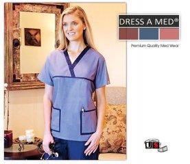 3ac04476443 Dress A Med Solid Premium V- Neck Nursing Scrub Top - Denim [902 ...