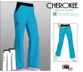 Cherokee Flexibles Cargo Pocket Pant - Black Waist Band