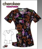 Cherokee Tooniforms Disney Freakin' Me Out V-Neck Top