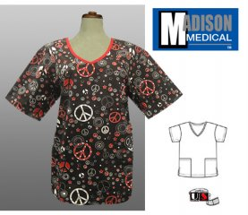 Madison Medical Printed V-Neck Scrub Top - Peace