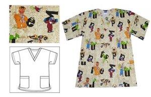 Disney Muppets Pal V Neck Printed Scrub Tops D7195j Mpp
