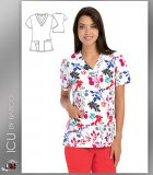 ICU by Barco Water Lily Print V-Neck 4 Pocket Scrub Top