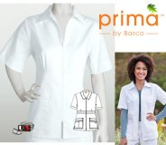 Barco Prima White 4 Pocket Zip Front Collar Top