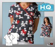 Cherokee HQ Scrub Terrier-ific Mock Wrap Top