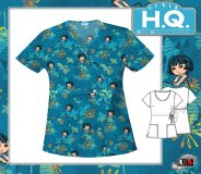 Cherokee HQ Scrub Dora Enchantment Mock Wrap Top