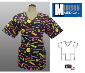 Madison Medical Printed V-Neck Scrub Top - Get Well