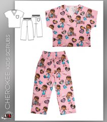 CHEROKEE I Care For Pets Kids Top and Pant Scrub Set