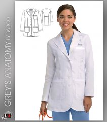 "Grey's Anatomy Women's 32"" 3 Pocket Button Front Lab Coat"