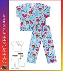 CHEROKEE Unisex Tooniform Kids Top and Pant Scrub Set in Hugs