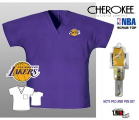 NBA Lakers 1 Pckt Unisex V-Neck Scrub Top Ballpen and Notepad