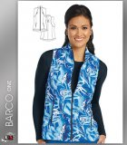 Barco One Women's Stand Collar Zip Front Blue Ocean Print Scrub
