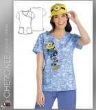 Cherokee Tooniforms Women's Mock Wrap Top in My Own Minion