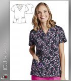 ICU by Barco Uniforms Women's V-Neck Lovehearts Print Scrub Top