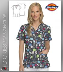 Dickies EDS Have A Laugh Print Women's V-Neck Scrub Top