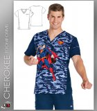 Cherokee Tooniforms Men's V-Neck Top in Save The Day