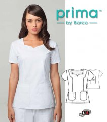 Barco Prima White 3 Pocket Soft Square Neck