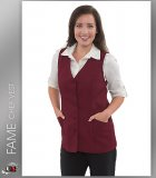 FAME Chef 2 Pocket Female Tunic Vest - Burgundy