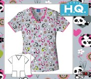 Cherokee HQ Scrub Panda Monium V-Neck Top