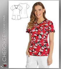 Cherokee Tooniforms Women's V-Neck Top in Think Minnie