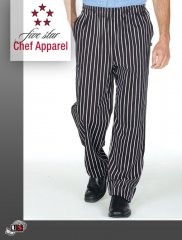 18100-CHALKSTRIPE Five Star Pull-On Chef Pant