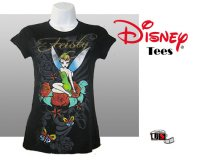 Disney Printed Tinkerbell Comfortable Black Tees