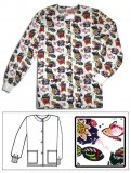 Printed Scrub Jacket - Fish