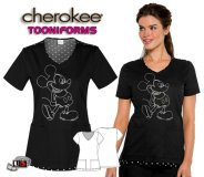 Cherokee Tooniforms Spinning a Yarn Black V-Neck Print Top
