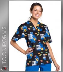 Cherokee Tooniforms Outta Cookies Print Unisex V-Neck Scrub Top