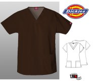 Dickies Classic Missy V-Neck Scrub Top Chocolate