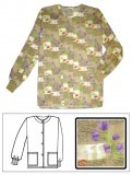 Printed Scrub Jacket Purple Garden