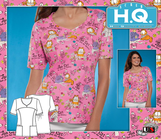 Cherokee HQ Scrub Garfield's Dinner Bias Crossed V-Neck Top - Click Image to Close