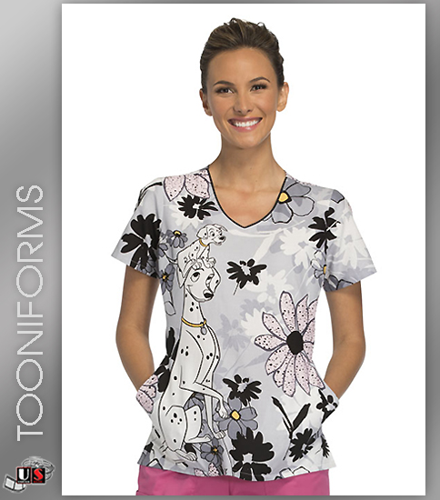 Cherokee Tooniforms A Stroll In The Park Women's V-Neck Short S - Click Image to Close